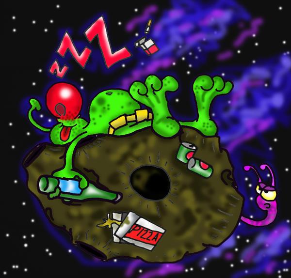 sleeping on asteroid by richardsymonsart