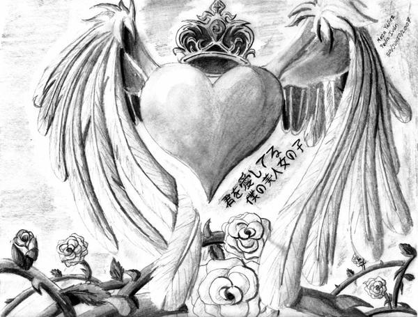 Suggestions Online  Images of Dibujos De Corazones Con Alas A Lapiz