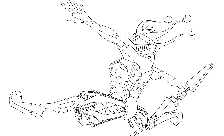 Line Drawing Knight : Jester knight line art wip by theoutlander on deviantart
