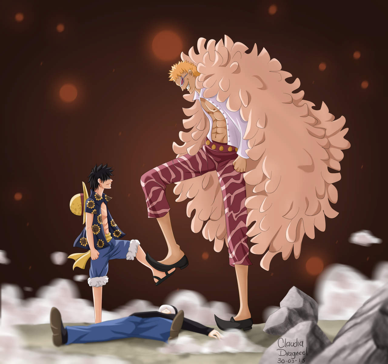 The Pros Of Cons Of Painting Vs Wallpapering: Luffy Vs Doflamingo By Claudiadragneel On DeviantArt