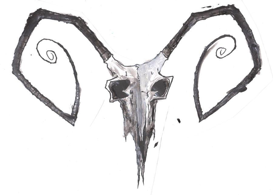 Evil Goat Skull Drawin...