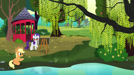 Rarity and Applejack relaxing by a pond