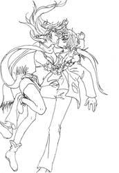 Rikku and Reno lineart by dlazaru