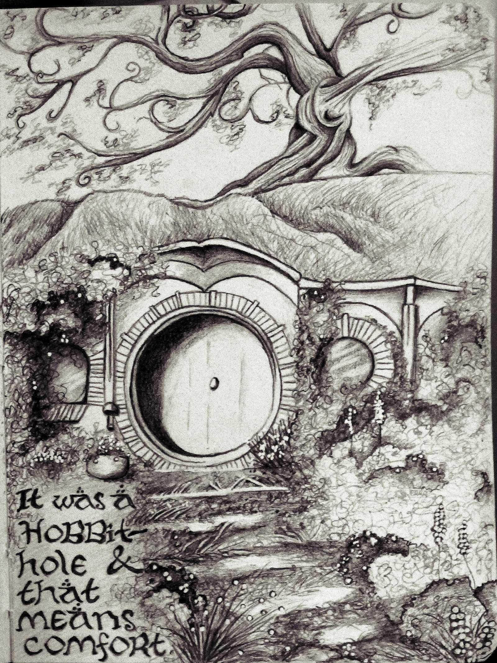 A hobbit hole by gwydionart on deviantart for Hobbit house drawings