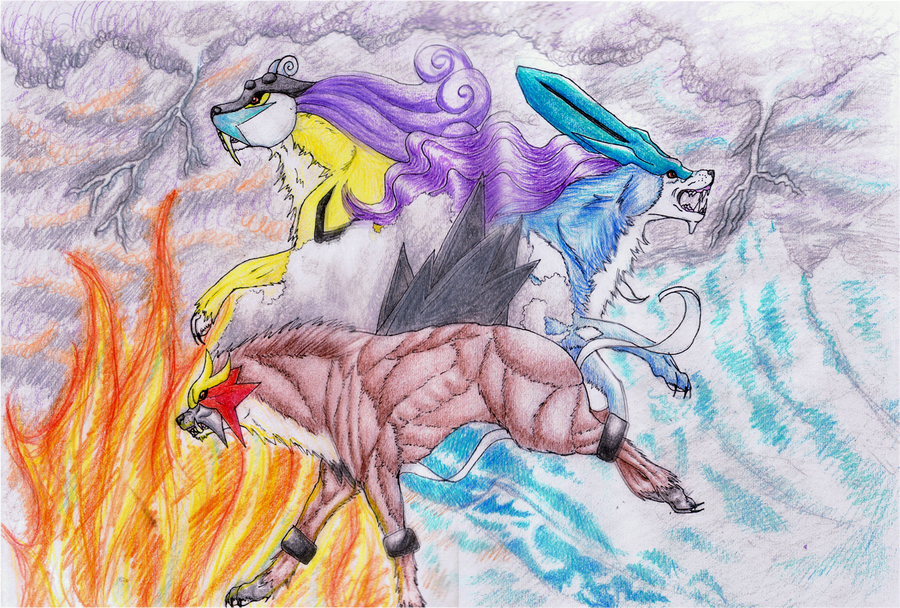 Raikou, Entei and Suicune by dragonett3 on DeviantArt