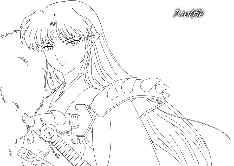sesshoumaru coloring pages - photo#1