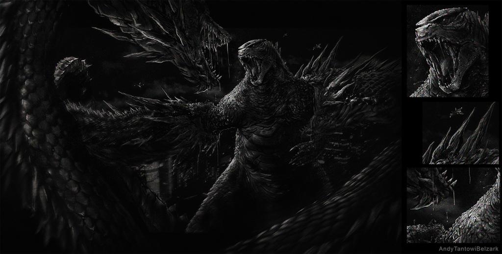 Godzilla vs King Gidorah by Belzark