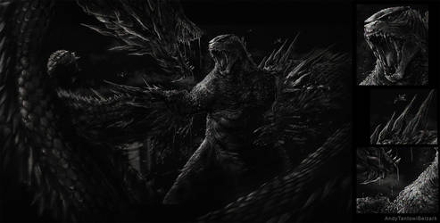 Godzilla vs King Gidorah by andytantowibelzark