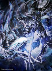 Commission: Blue Eyes Vs Dark Magician by andytantowibelzark