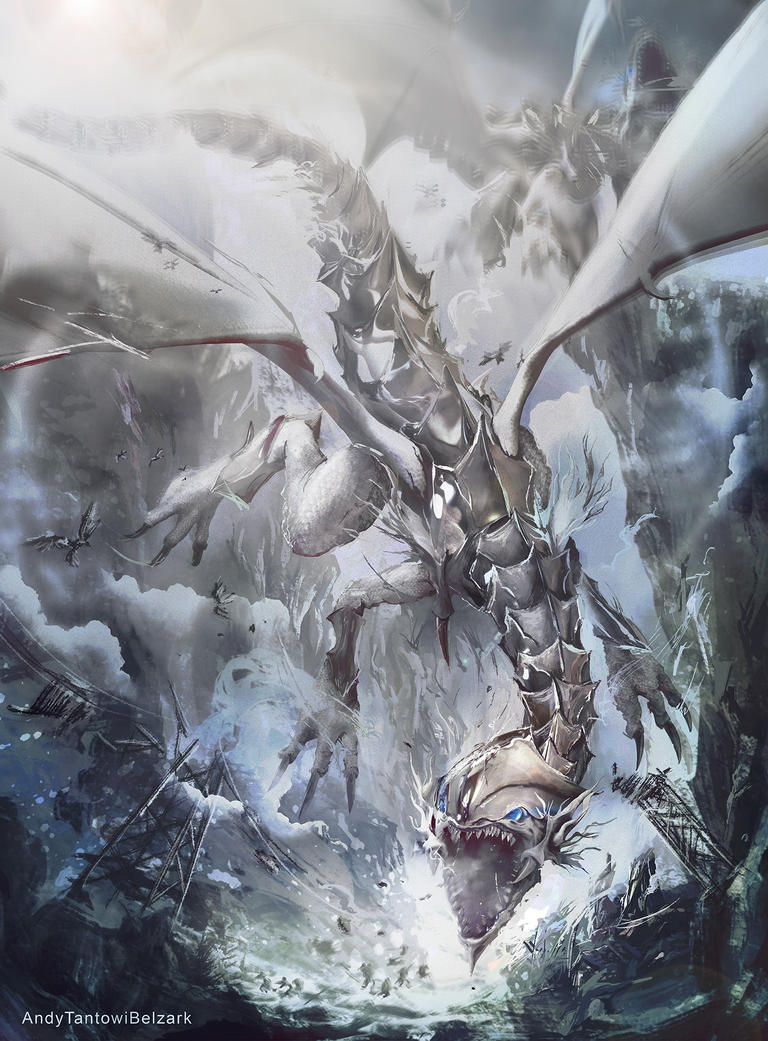 blue eyes white dragon by andytantowibelzark on deviantart