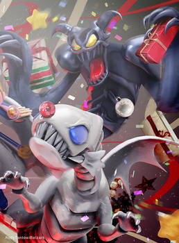 Commission: Xmas Toon Summoned Skull n Blue Eyes