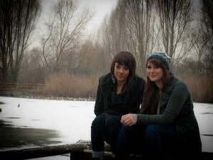 Chelsea an Millie.. Snowy Pond