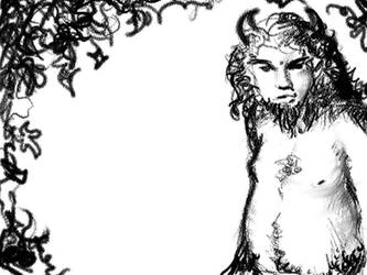Satyr Among The Vines by scriblerus