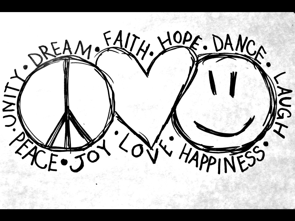 Peace Love and Happiness Coloring Pages