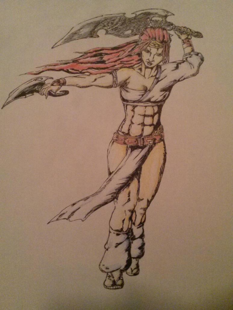 Heavenly Sword's Nariko sketch by Darndestreeter