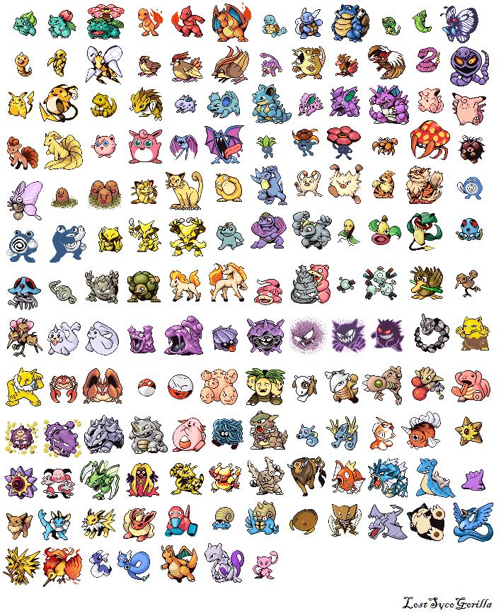 Pokemon Generation 1 Recolors By Lostsycogorilla On Deviantart
