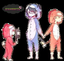 Misaki, Saruhiko, Anna(K-Project) render 1 by StrawberryTv