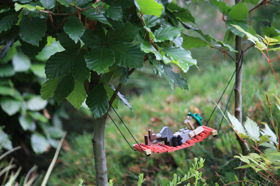 Relaxing in a LEGO hammock by Horb