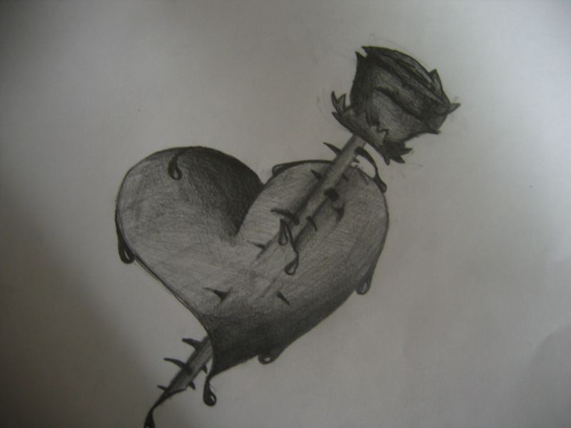 Emo bleeding heart and rose by bad69magik on deviantart - Emo rose pictures ...