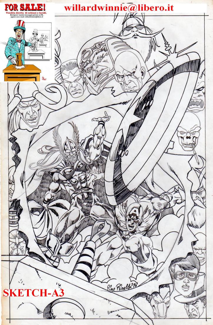 For Sale- sketch A3-  Cover Cap e Thor 1 by PinoRinaldi