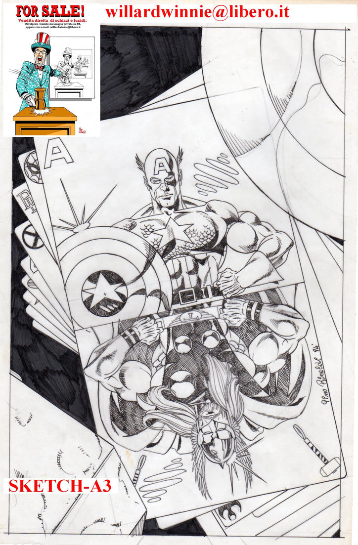 For Sale- Cap e Thor Pin Up- A3 by PinoRinaldi