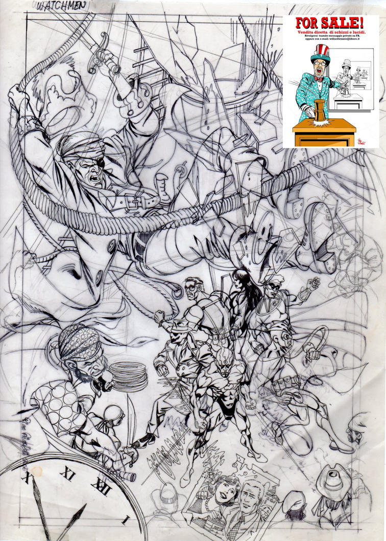 For sale cover sketch Watchmen B by PinoRinaldi