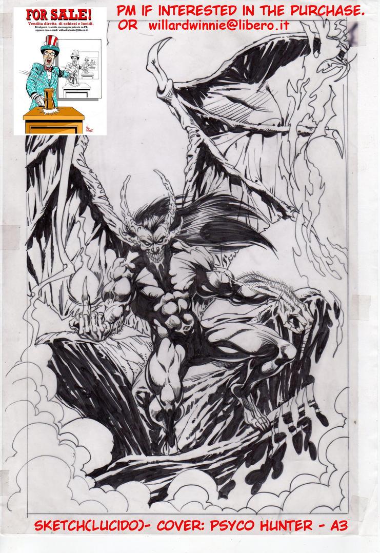 On Sale:  cover sketch A- A3-Psyco Hunter- lucido by PinoRinaldi