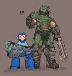 Doom Guy And Megaman by KelvinHiu