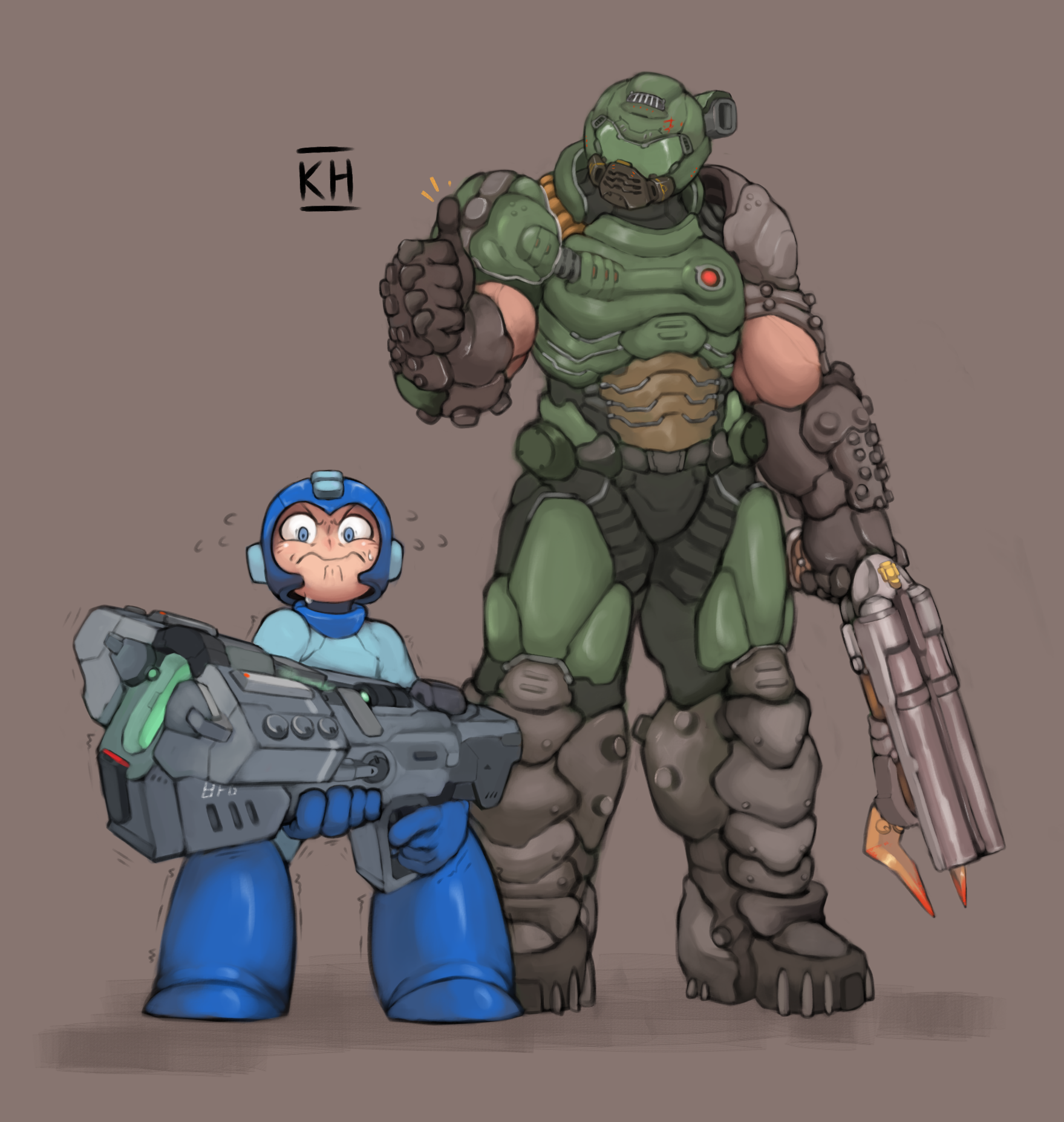 Doom Guy And Megaman By Kelvinhiu On Deviantart