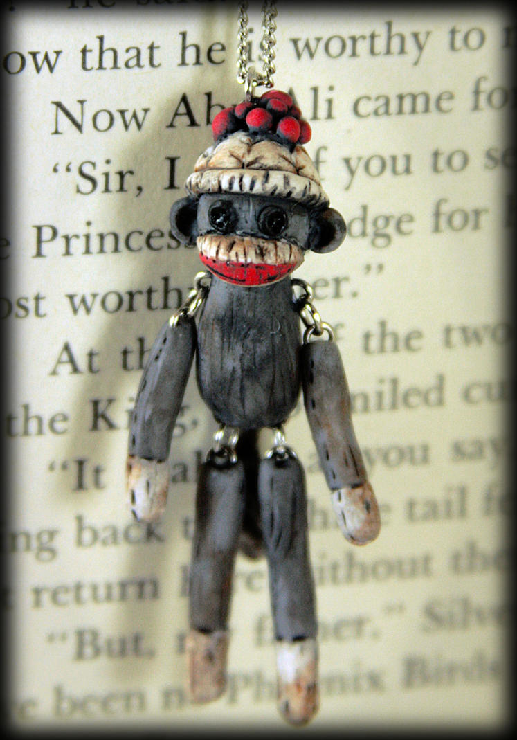 Sock Monkey Necklace by NeverlandJewelry