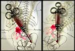 Blood filled Antique Syringe....