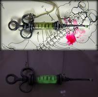 Glow Syringe Necklace by NeverlandJewelry