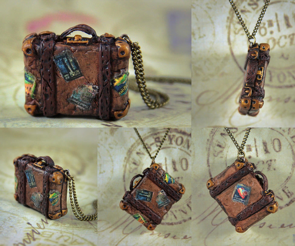 World Traveler Antique Suitcase Necklace by NeverlandJewelry