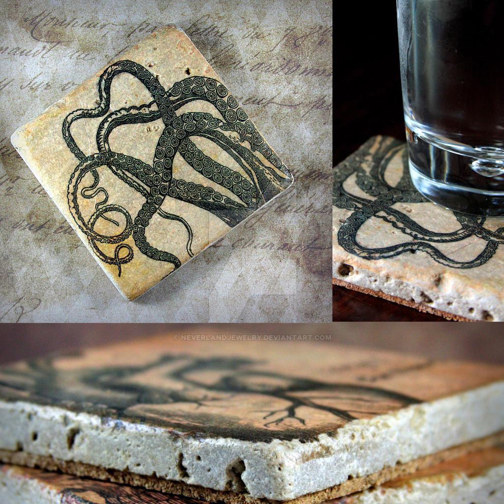 Tentacle drink coasters handmade tumbled marble by for Handmade drink coasters