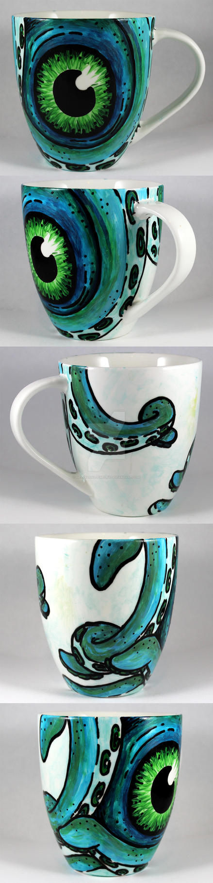 Handpainted Blue Octopus Cup by NeverlandJewelry