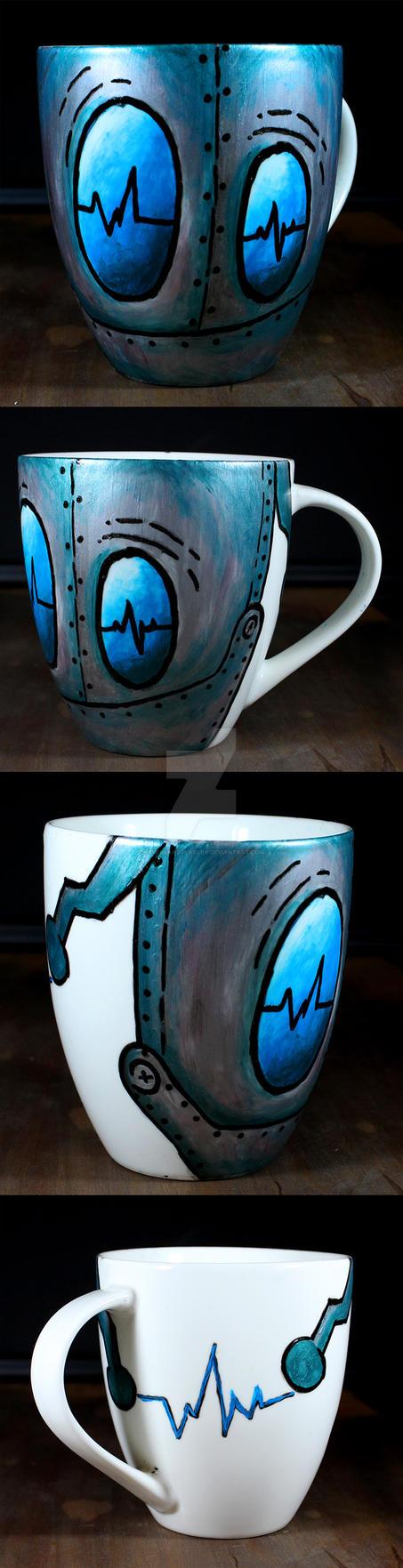 Handpainted Robot Cup by NeverlandJewelry