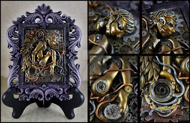 Brass Clock work Angel Mixed Media Sculpture