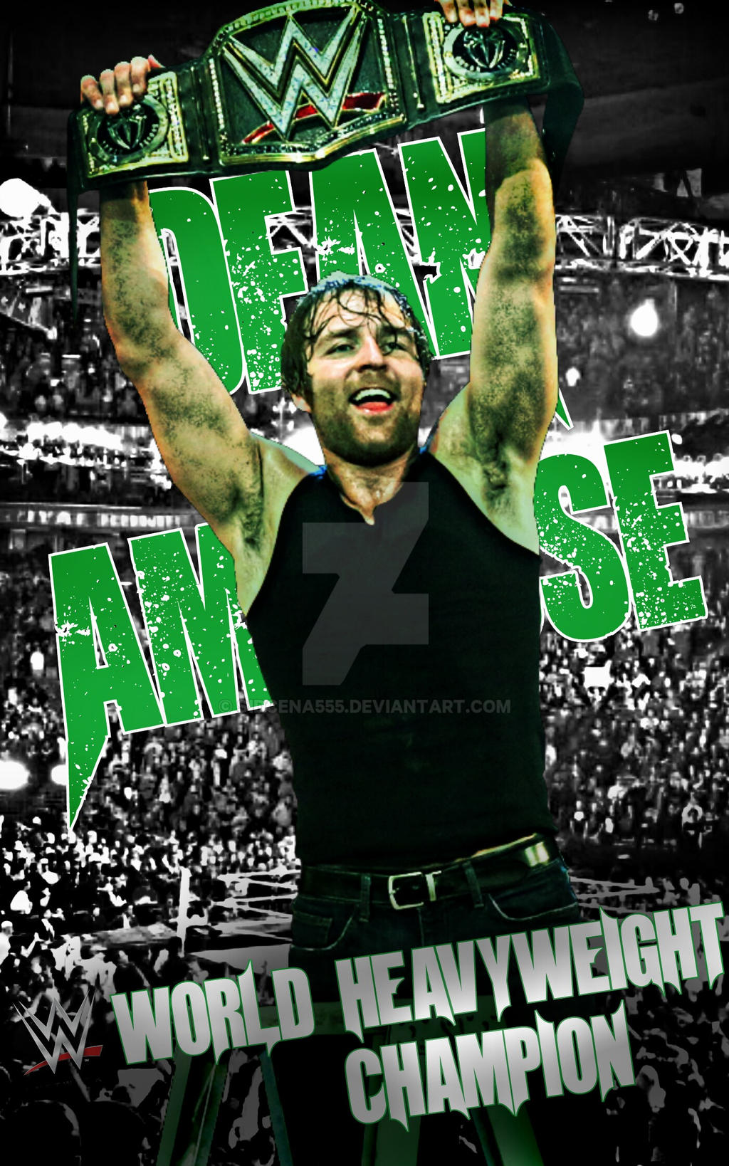 dean ambrose wwe champion poster 2016 by sidcena555 on deviantart