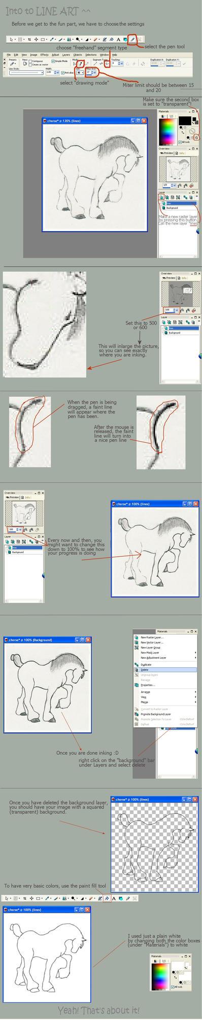 Basic line art tutorial by kliptopyro