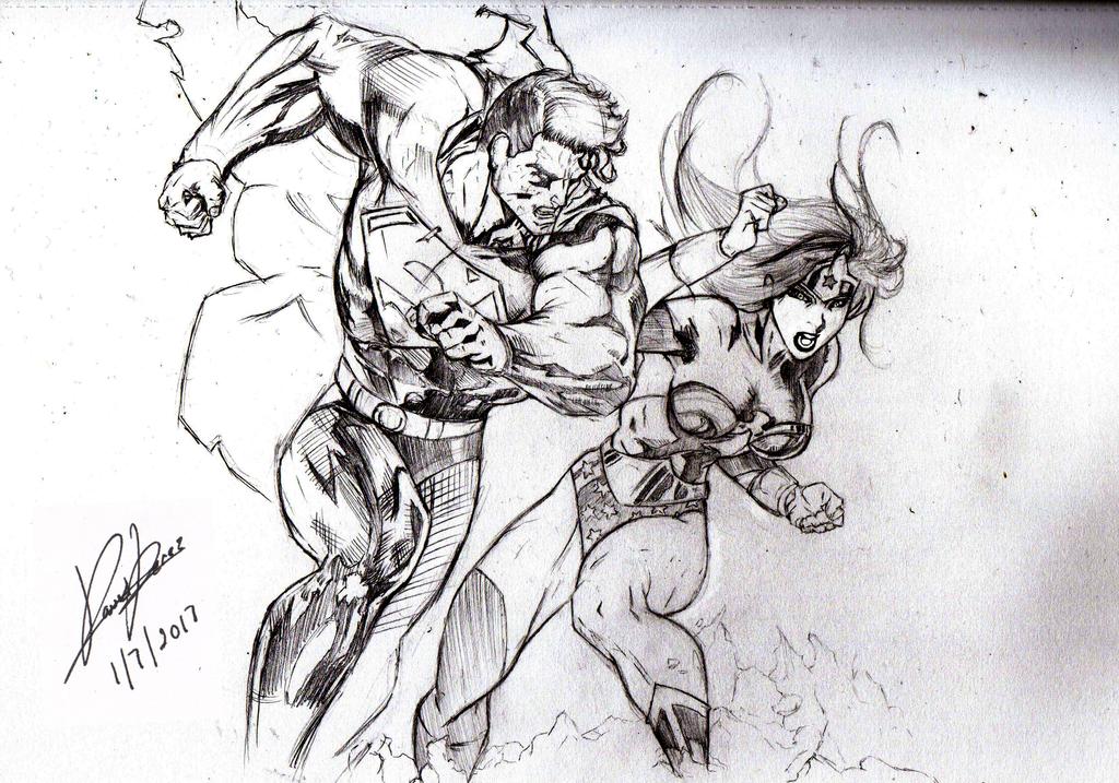 Superman VS Wonder Woman by DCPerez
