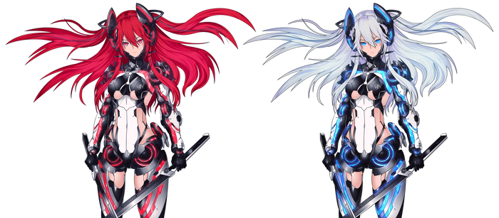 Mecha Girl RED and Blue VECTOR [Update 5]