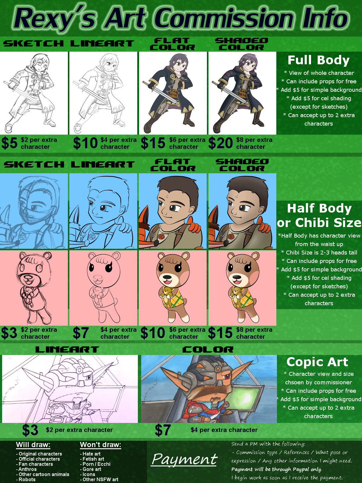 Rexy's Commission Information