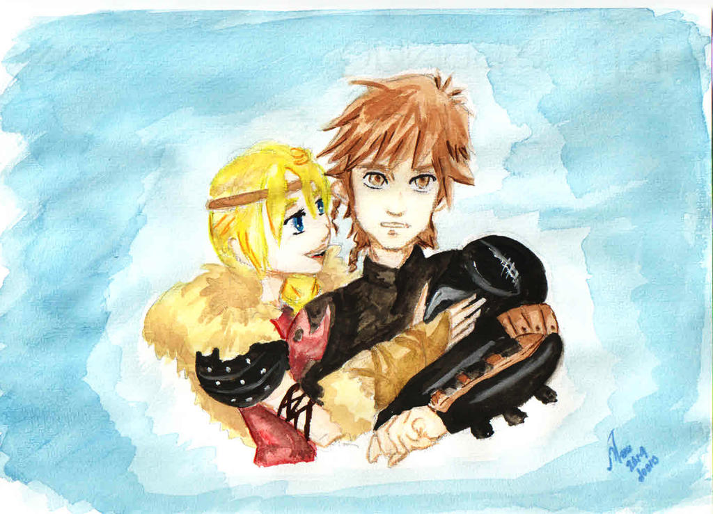 Hiccup and Astrid by 0Sora-kun0