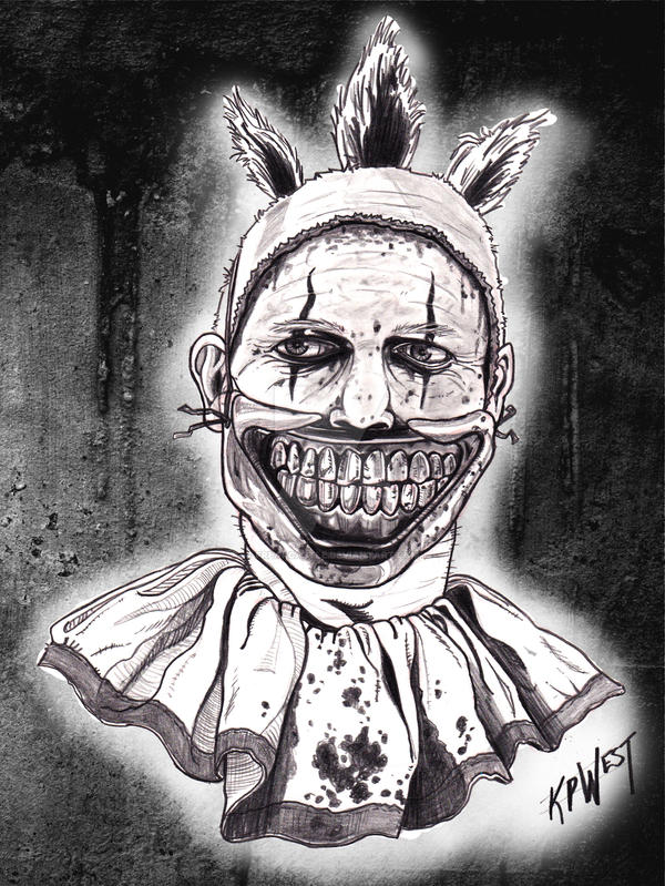 Twisty The Clown B and White by