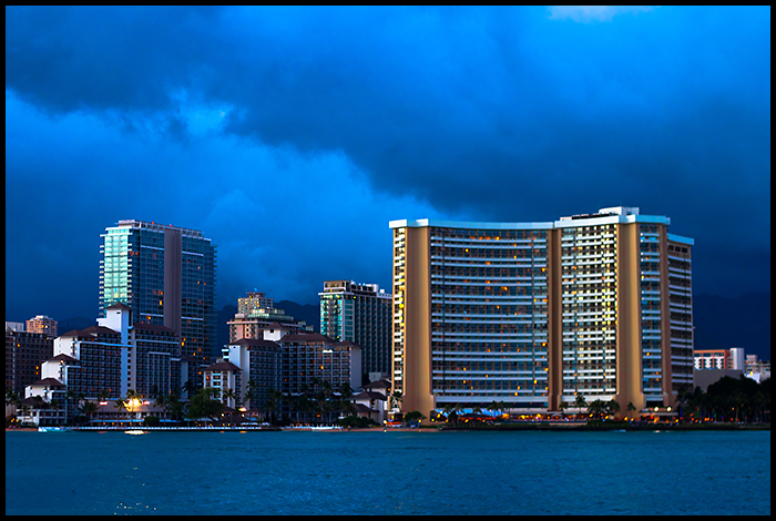Honolulu, Nighttime Approaches by ryangallagherart