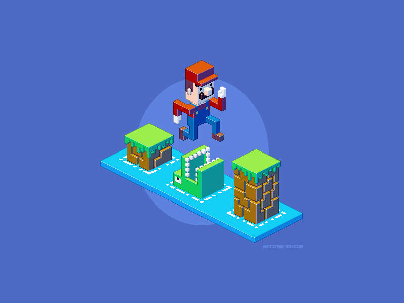 Isometric Mario pixel art by m7