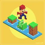 Isometric Mario voxel art