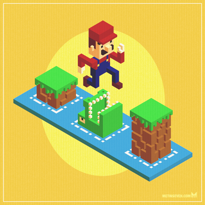 Isometric Mario voxel art by m7