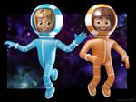Spacegirl and Spaceboy character designs