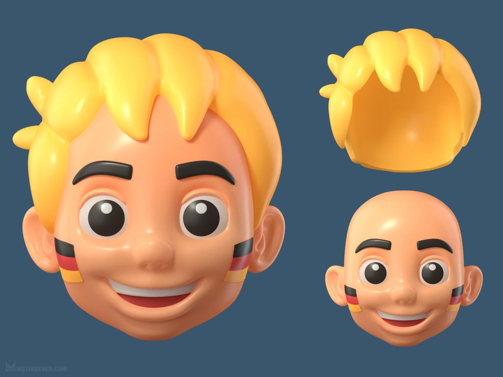 Football fan boy head toy sculpt by m7